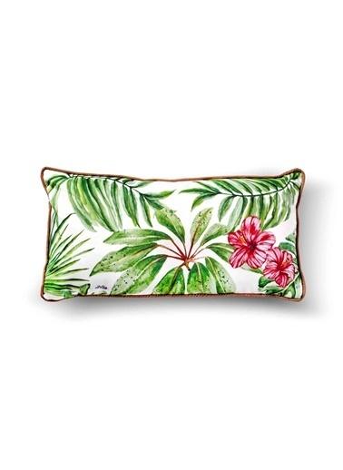 The Mia Tropik Yastık - Leaf Beyaz 40 x 20cm Renkli